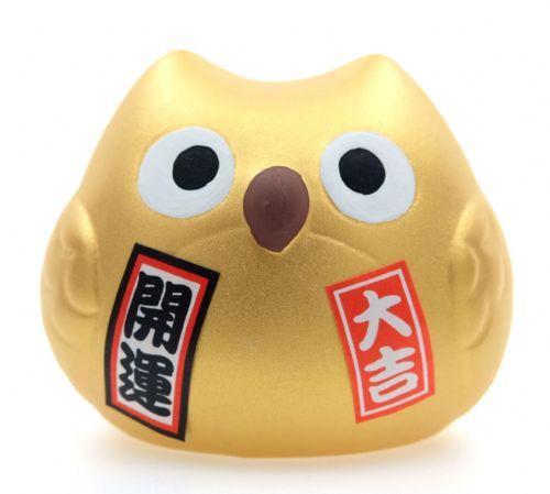 Maneki Neko Feng Shui Lucky Gold coloured OWL for good Fortune with Money